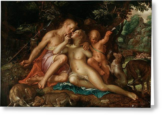 Venus And Adonis Greeting Card by Joachim Wtewael