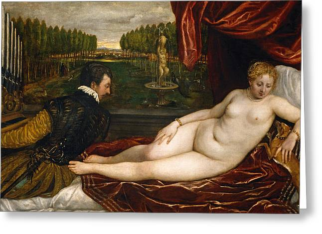 Venus With An Organist And A Dog Greeting Card by Titian