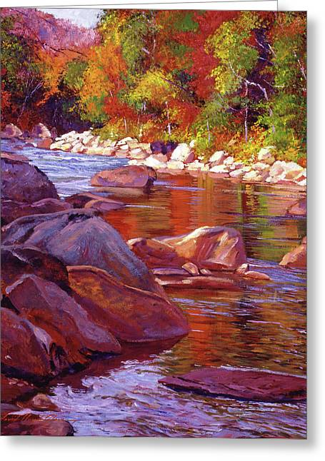 Vermont River Greeting Card by David Lloyd Glover
