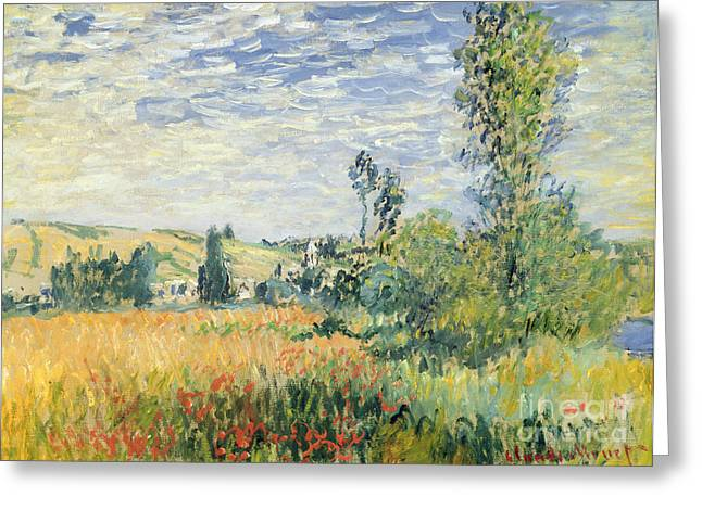 Corn Greeting Cards - Vetheuil Greeting Card by Claude Monet