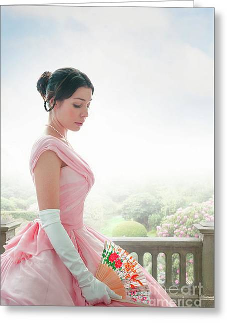 Greeting Card featuring the photograph Victorian Woman In A Pink Ball Gown by Lee Avison