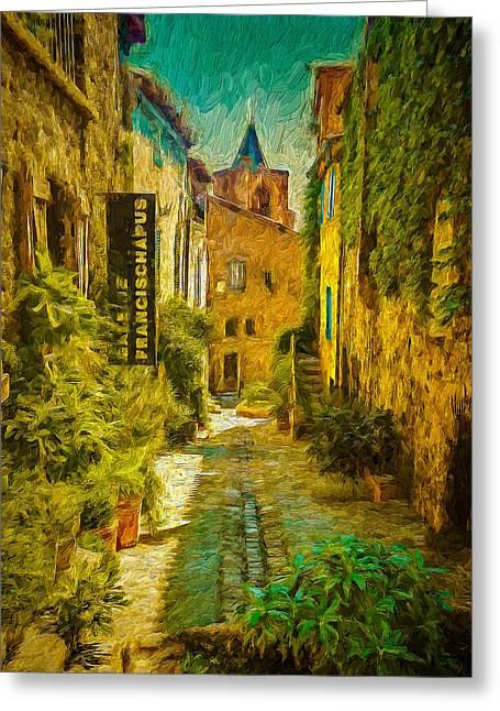 Vieux Village De Grimaud Greeting Card
