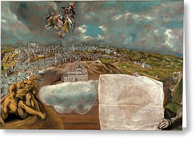 View And Plan Of Toledo Greeting Card by El Greco