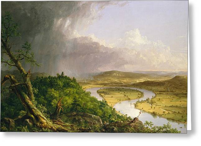 View From Mount Holyoke, Northampton, Massachusetts, After A Thunderstorm - The Oxbow Greeting Card by Thomas Cole