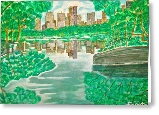 View From Oak Bridge Central Park Greeting Card