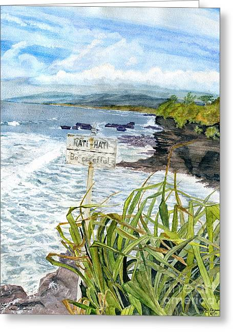 Greeting Card featuring the painting View From Tanah Lot Bali Indonesia by Melly Terpening