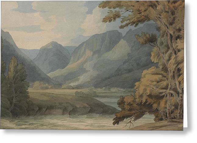 View In Borrowdale Of Eagle Crag And Rosthwaite Greeting Card by Francis Towne