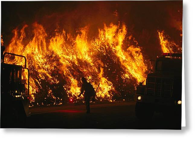 Forest Fire Greeting Cards - View Of A Forest Fire Near Boise, Idaho Greeting Card by Mark Thiessen