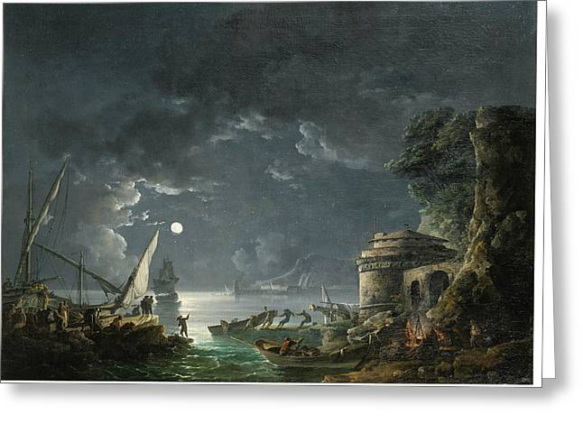 Greeting Card featuring the painting View Of A Moonlit Mediterranean Harbor by Carlo Bonavia