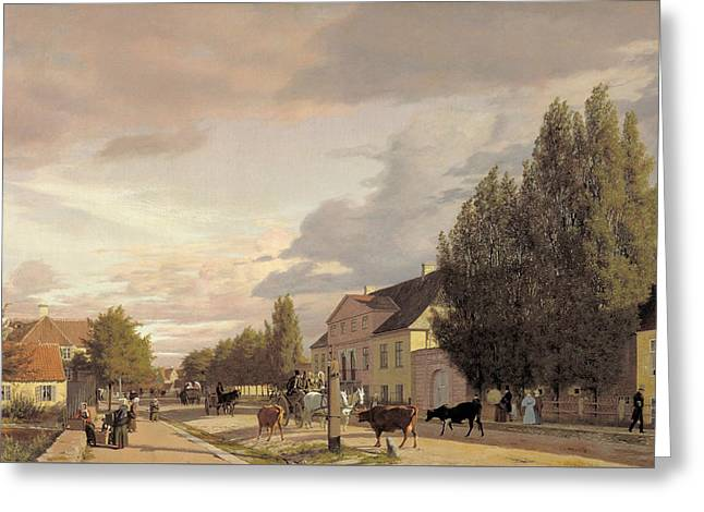 View Of A Street In Osterbro Outside Copenhagen. Morning Light Greeting Card by Christen Kobke