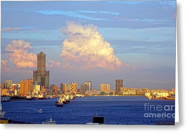 View Of Kaohsiung City At Sunset Time Greeting Card