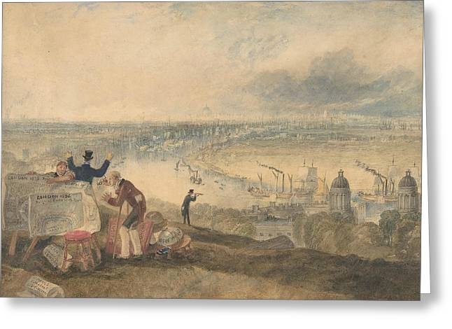 View Of London From Greenwich Greeting Card by Joseph Mallord William Turner