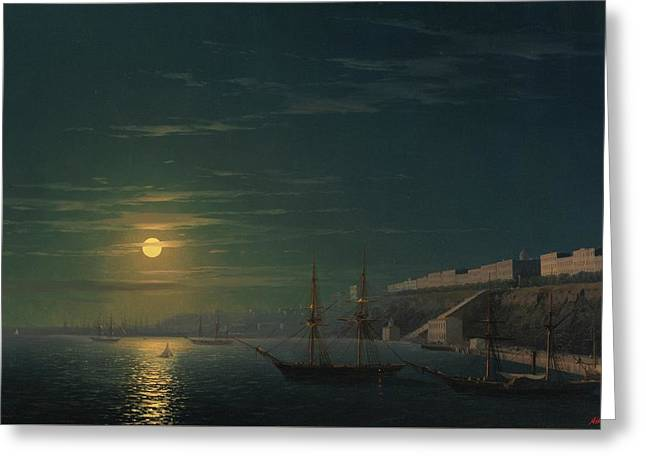 View Of Odessa On A Moonlit Night Greeting Card by MotionAge Designs