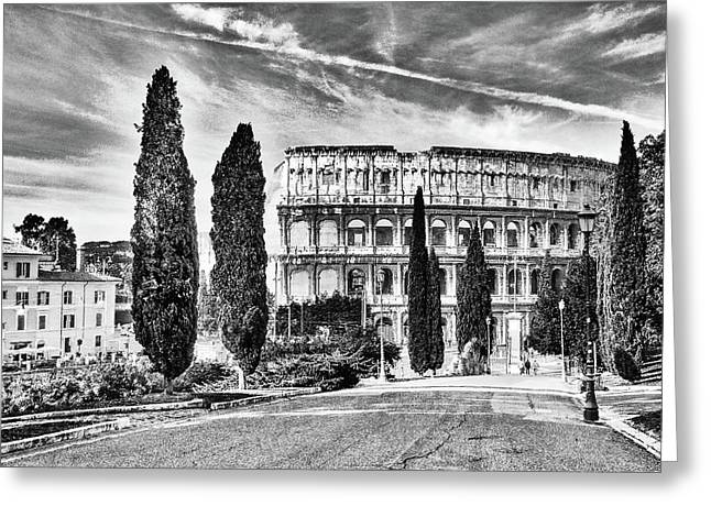 View Of The Back Of The Coliseum Early On A Sunny Summer Morning Greeting Card by George Westermak