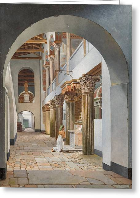 View Of The Church Of San Lorenzo Fuori Le Mura Greeting Card by Christoffer Wilhelm Eckersberg