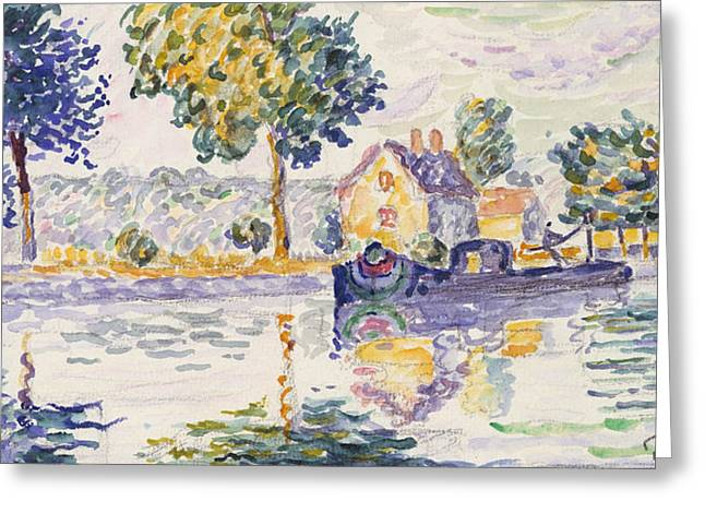 View Of The Seine, Samois Greeting Card by Paul Signac