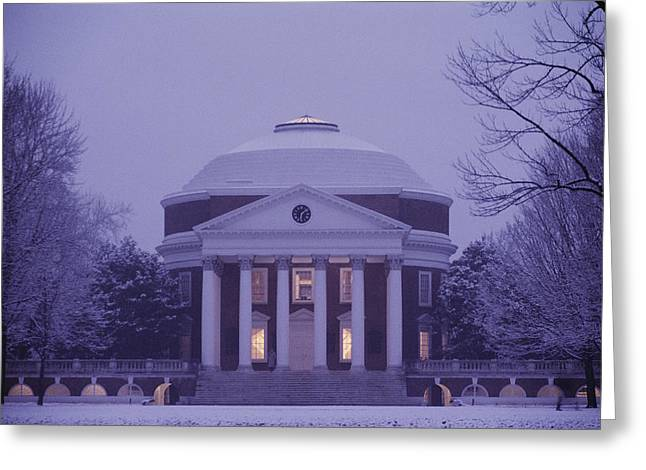 Twilight Views Greeting Cards - View Of The University Of Virginias Greeting Card by Kenneth Garrett