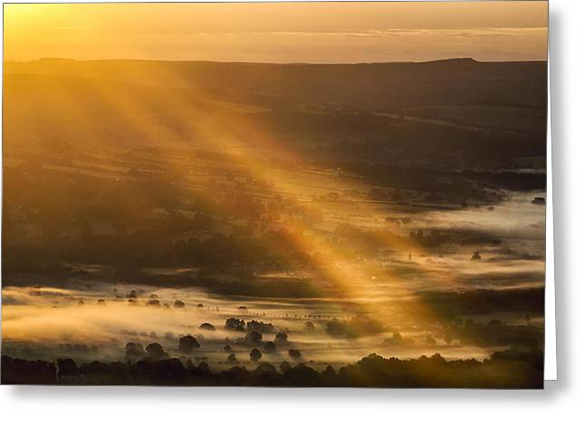 View Over The Hope Valley From Mam Tor At Dawn Greeting Card