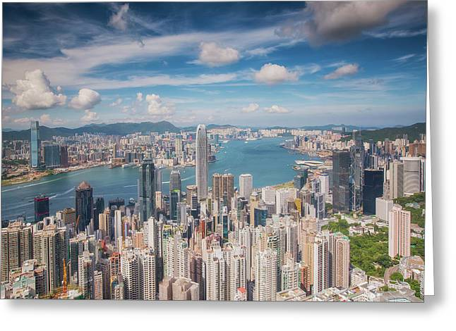 View Point Of Hongkong City And Kowloon City From The Top Of Vic Greeting Card by Anek Suwannaphoom