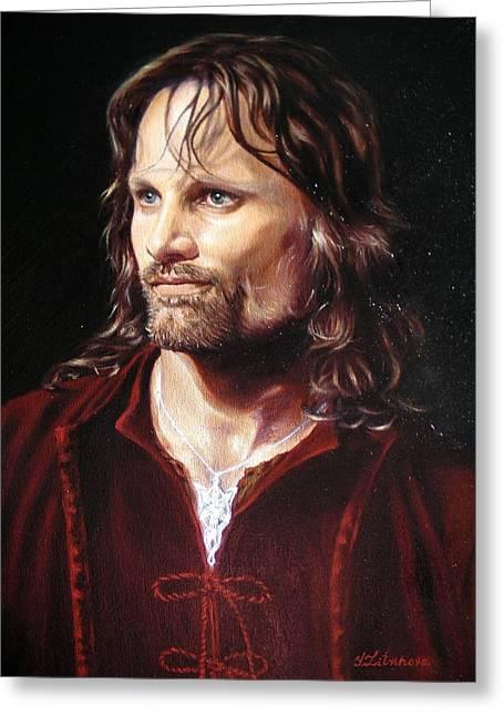 Viggo Mortensen As Aragorn Greeting Card by Yulia Litvinova