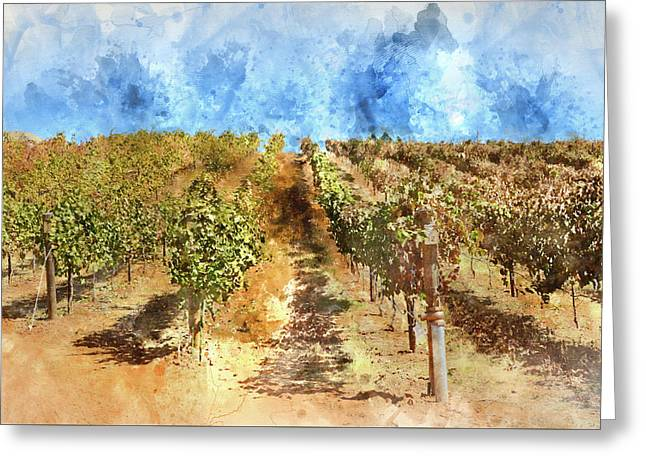 Vineyard With Blue Sky In Autumn With Vintage Film Style Filter Greeting Card by Brandon Bourdages