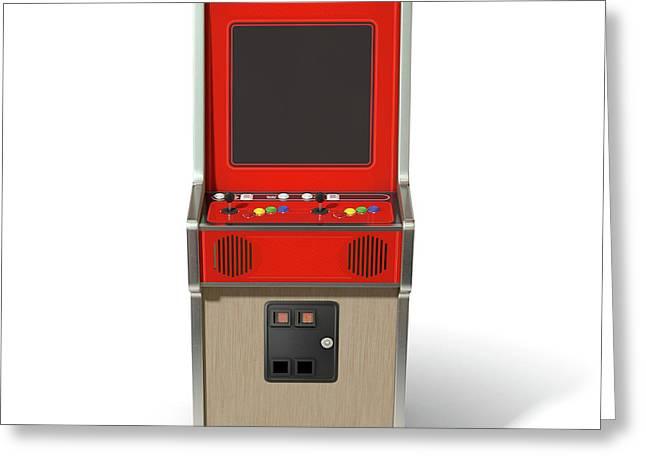 Vintage Arcade Machine Greeting Card by Allan Swart