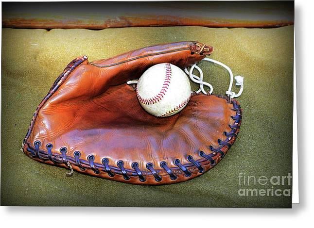 Vintage Baseball Glove Greeting Card by Paul Ward