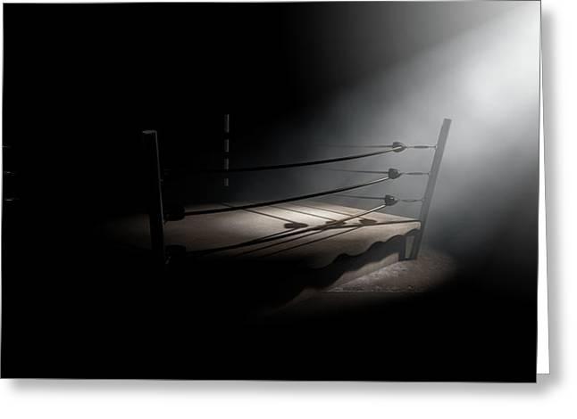 Vintage Boxing Ring Spotlit Corner Greeting Card by Allan Swart