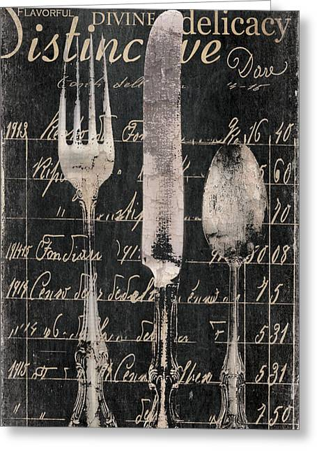 Dining Greeting Cards - Vintage Dining Utensils in Black  Greeting Card by Grace Pullen