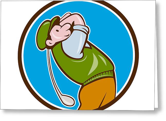 Vintage Golfer Swinging Club Teeing Off Circle  Greeting Card by Aloysius Patrimonio