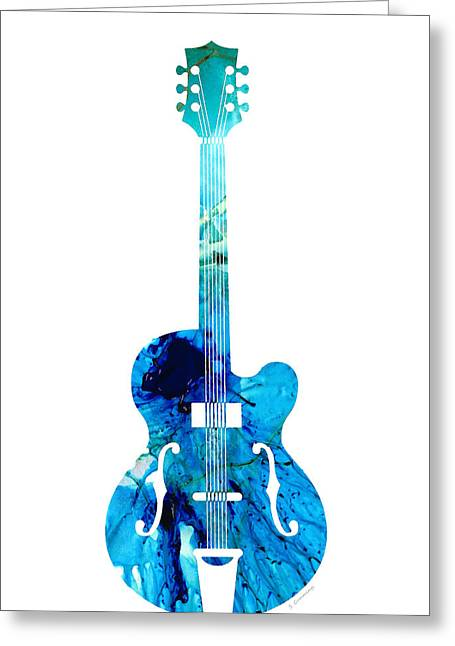 Vintage Guitar 2 - Colorful Abstract Musical Instrument Greeting Card by Sharon Cummings