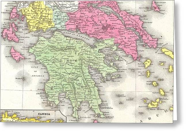 Vintage Map Of Greece  Greeting Card by CartographyAssociates