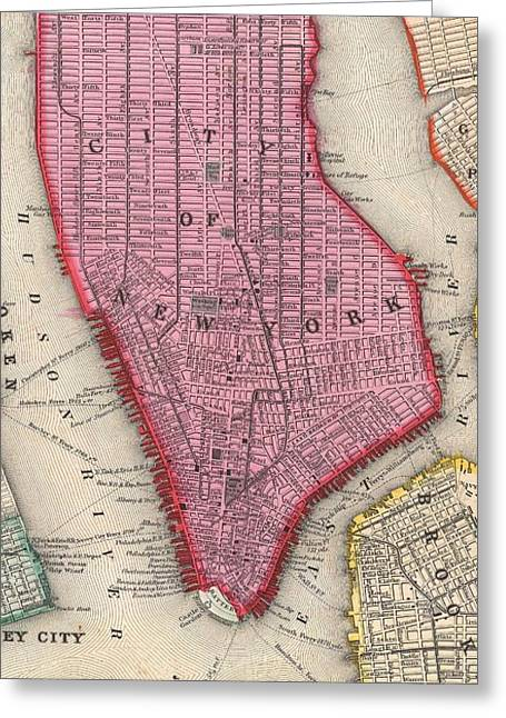 Vintage Map Of Lower New York City  Greeting Card by CartographyAssociates