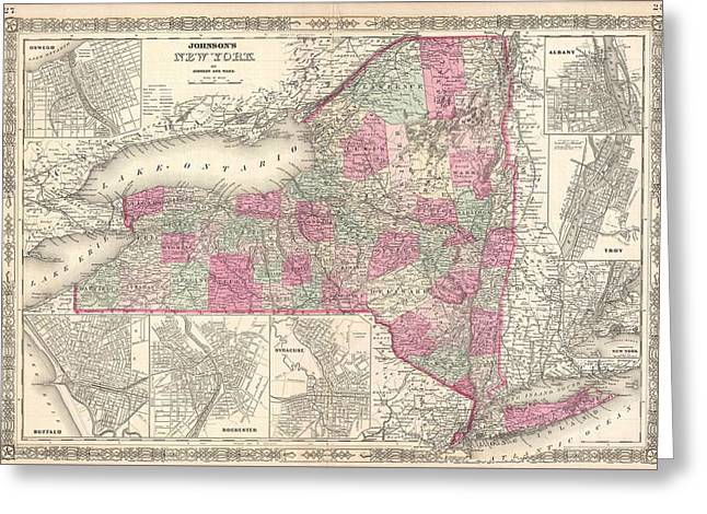 Vintage Map Of New York  Greeting Card by CartographyAssociates
