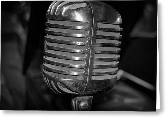 Vintage Microphone Greeting Card by Paul Brennan