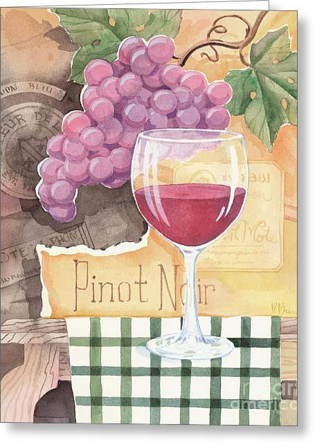 Vintage Pinot Noir Greeting Card by Paul Brent