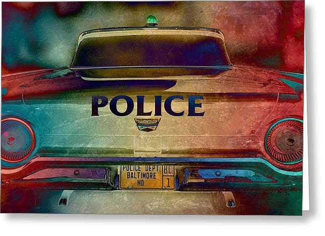 Vintage Police Car - Baltimore, Maryland Greeting Card