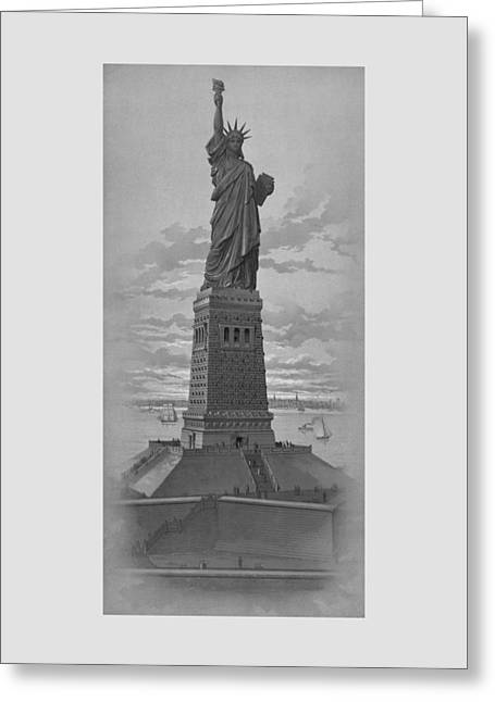 Vintage Statue Of Liberty Greeting Card by War Is Hell Store
