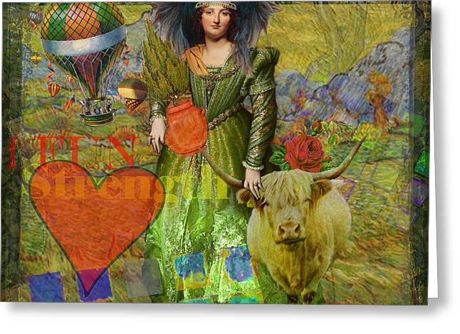 Vintage Taurus Gothic Whimsical Collage Woman Fantasy Greeting Card
