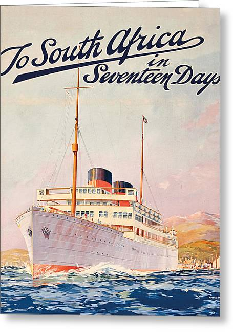 Vintage Travel Poster Advertising A Cruise To South Africa Greeting Card