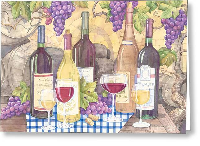 Vintage Wine I Greeting Card by Paul Brent