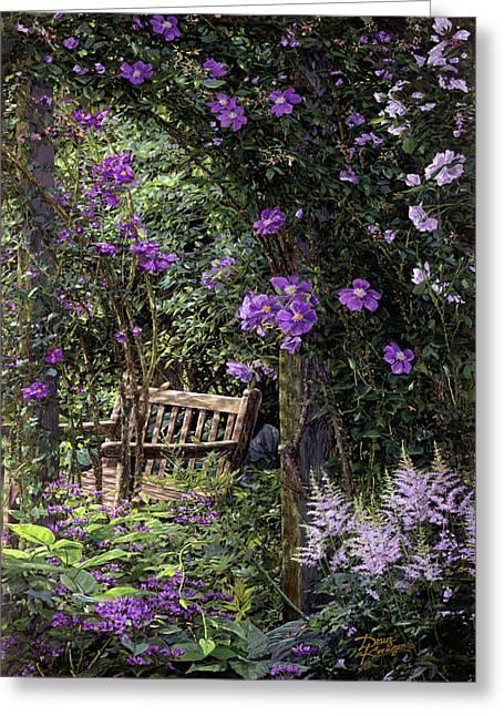 Secret Gardens Greeting Cards - Violet Garden Respite Greeting Card by Doug Kreuger