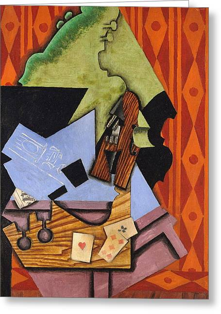 Violin And Playing Cards On A Table Greeting Card by Juan Gris