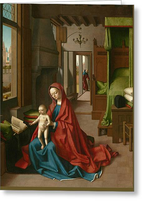 Virgin And Child In A Domestic Interior Greeting Card