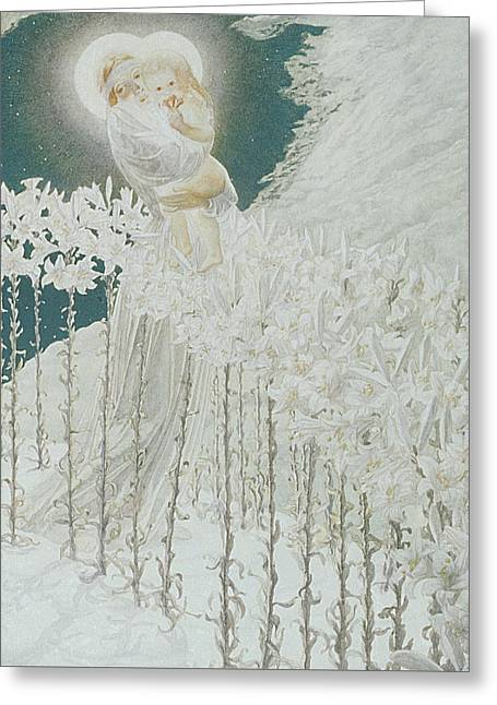 Virgin Of The Lilies Greeting Card by Carlos Schwabe