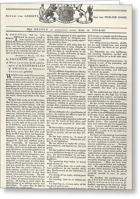 Virginia Gazette, 1776 Greeting Card by Granger