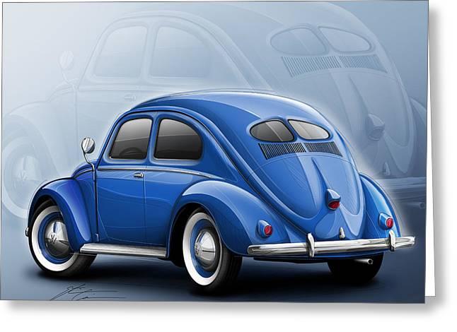 Volkswagen Beetle Vw 1948 Blue Greeting Card by Etienne Carignan