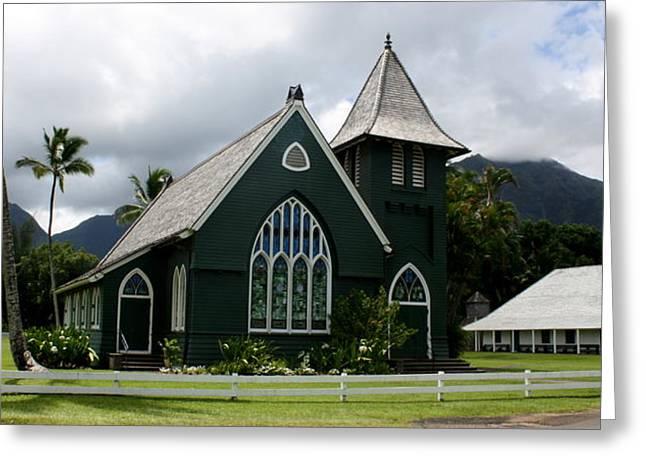Wai'oli Hui'ia Church Greeting Card by Annie Babineau