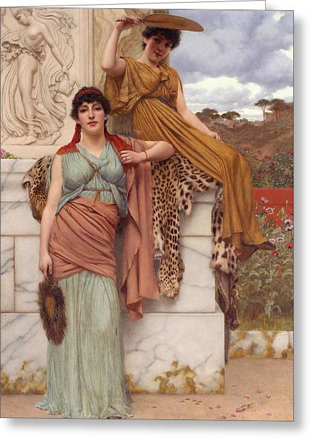 Waiting For The Procession Greeting Card by John William Godward