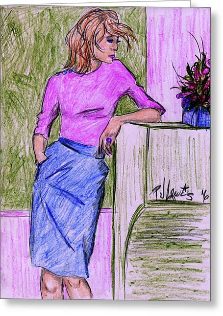 Greeting Card featuring the drawing Waiting by P J Lewis